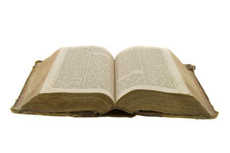 Vintage libro abierto para leer la biblia abierta aisladas en blanco Foto de archivo - 4443286
