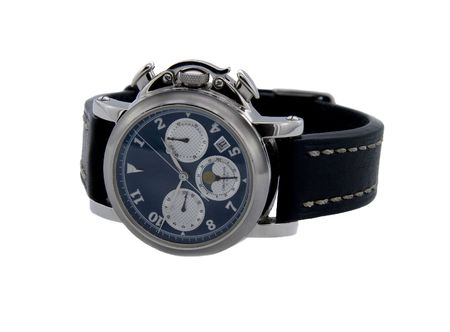 chronograph: Rich silver chronograph watch in white background Stock Photo