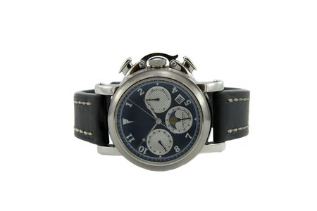 chronograph: Rich silver chronograph watch with sapphire glass in white background