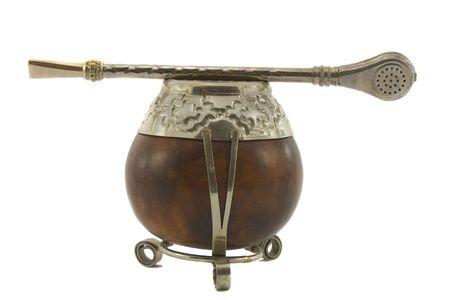 Argentinean tea, Yerba MatA�, calabash cup using a metal or wood decorative straw & filter called la bombilla photo