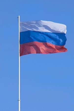 federation: Flag of the Russian federation blowing on a wind