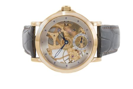 chronograph: Rich gold swiss made chronograph watch in white background
