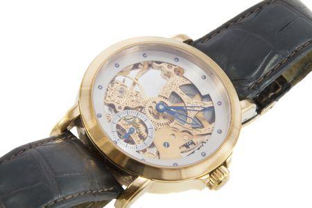 cron�grafo: Rico en oro swiss made cron�grafo reloj en fondo blanco