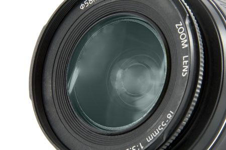 Camera lens macro shooting isolated on white background