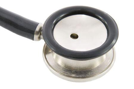 sound therapist: phonendoscope  isolated on white background. Macro shooting Stock Photo