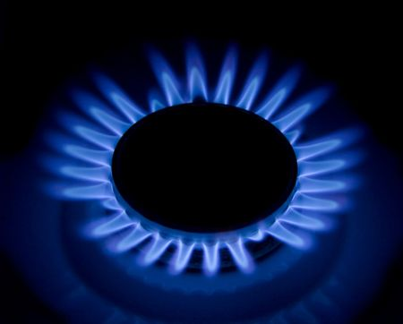 Flames of gas stove in the dark Stock Photo - 4972568