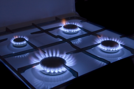Flames gas stove Stock Photo