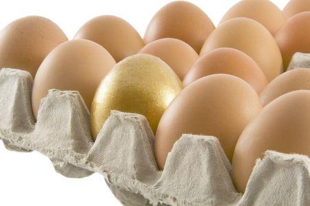 over packed: Una de oro y muchos ciudadanos rurales huevos frescos envasados en cart�n contenedor aislado m�s de fondo blanco Foto de archivo