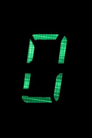 digital number nil or zero in green on black background Stock Photo - 5117771