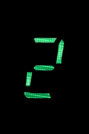 digital number two or second in green on black background Stock Photo - 5117767