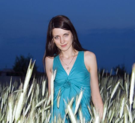 young beautiful brunette in golden wheat field photo