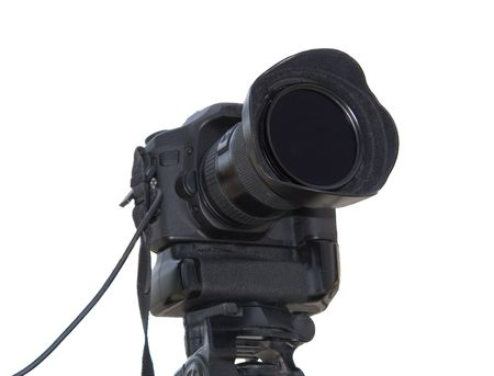 megapixel: Professional photo camera isolated over white background Stock Photo