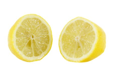 aliment: yellow fresh lemon isolated over white Stock Photo
