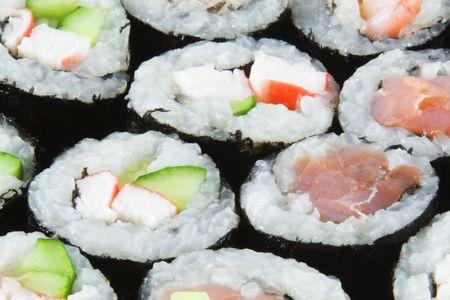 Salmon and Tuna Sushi Rolls photo