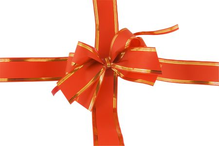 red holiday bow on white background Stock Photo - 5797469