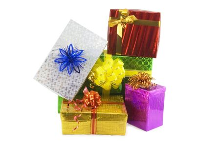 closed ribbon: Many gift boxes isolated on the white