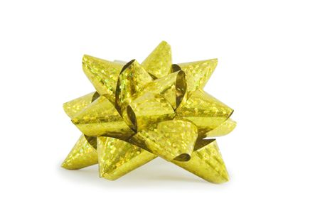yellow holiday bow on white background Stock Photo - 5797472