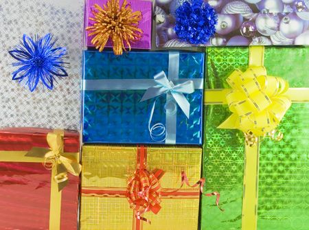 Color gift boxes over background