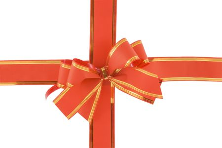 red holiday bow on white background Stock Photo - 5821915