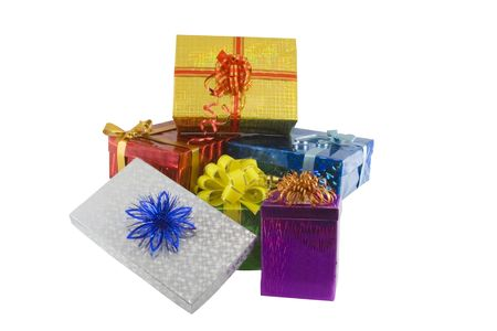 Color gift boxes isolated on the white Imagens