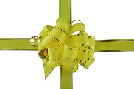 yellow holiday bow on white background Stock Photo - 5893568