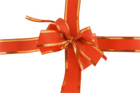 red holiday bow on white background Stock Photo - 5894554