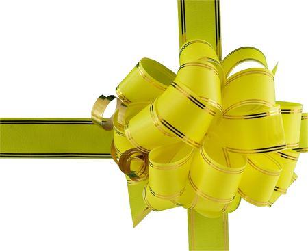 yellow holiday bow on white background Stock Photo - 5957395