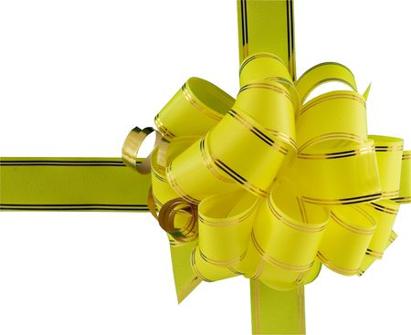 yellow holiday bow on white background Stock Photo - 5957395
