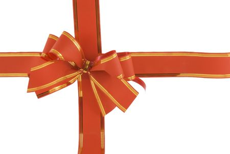 red holiday bow on white background Stock Photo - 5957383