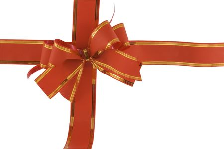 red holiday bow on white background Stock Photo - 5995138