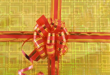 red holiday bow on yellow background Stock Photo - 6062537