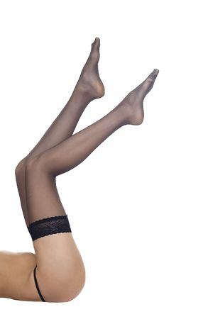 Long sexy woman in black stockings over white background Stock Photo - 6062541
