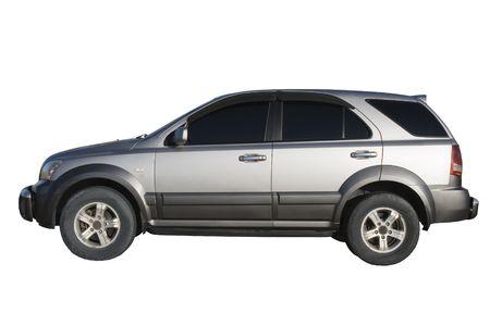 motor de carro: coche de plata moderna aislada sobre blanco