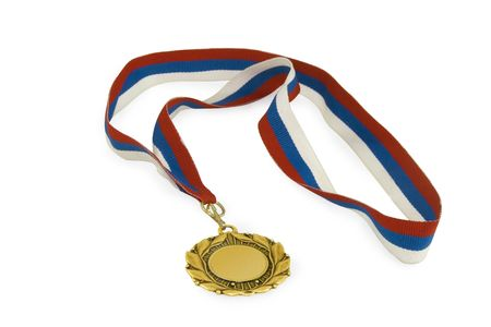 gold medal with ribbon isolated over white background photo