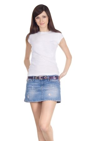 Lovely brunette in denim skirt Stock Photo - 6245131