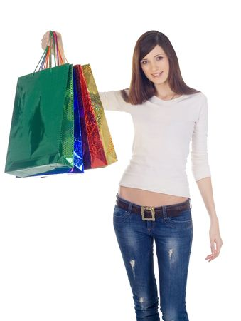 shoulder bag: happy woman with shopping bags over white Stock Photo