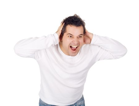Angry man screaming isolated over white Stock Photo - 6419216