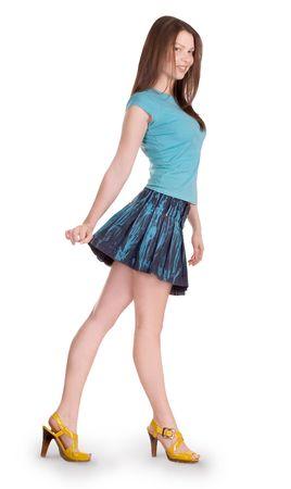provocative: Lovely brunette in denim skirt
