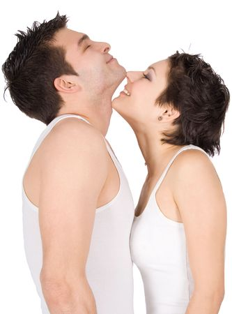 seductive couple: Profile of a smiling young couple in love Stock Photo