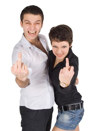 Young man and woman showing middle finger Stock Photo - 6522086