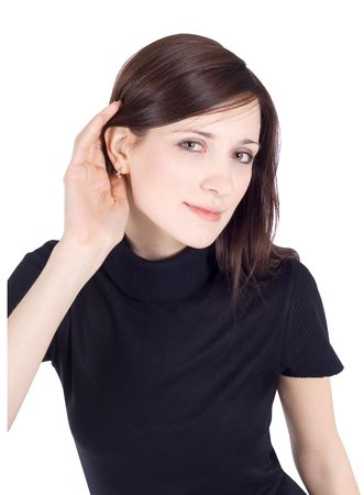 hearsay: bright picture of young brunette listening gossip
