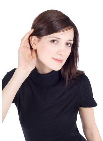 oir: imagen brillante de joven Morena chismes de escucha