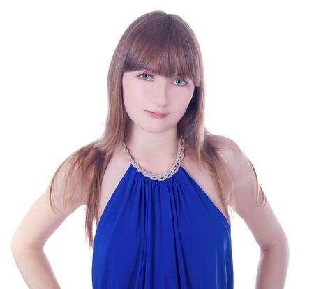 greeneyes: Lovely young green-eyes lady in blue dress standing against isolated white background