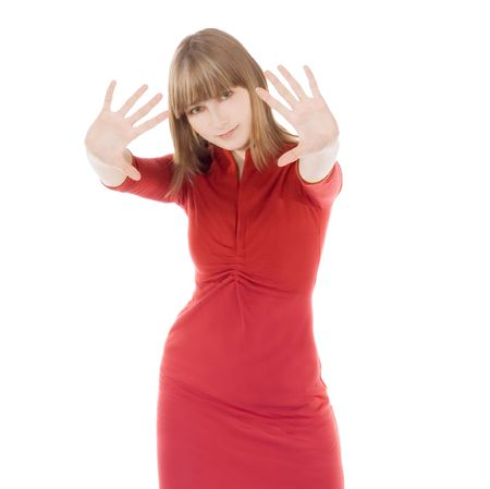 bright picture of lovely woman in red clothes showing stop sign Stock Photo - 6649685
