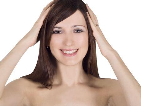 Closeup portrait of a beautiful nude lady in surprise Stock Photo - 6782540