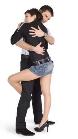 hugging legs: young couple in love