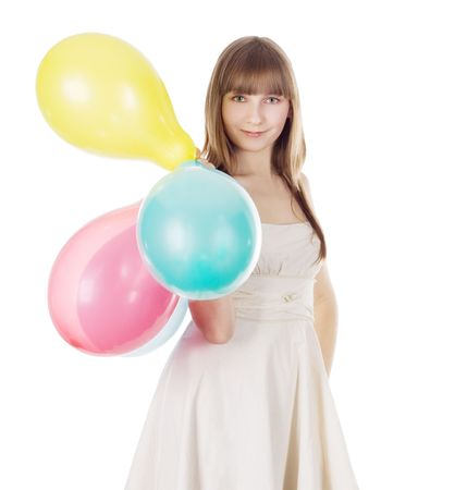 Bright picture of happy blonde with color balloons photo