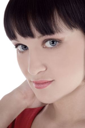 Brightly picture of lovely woman over white Stock Photo - 6861120