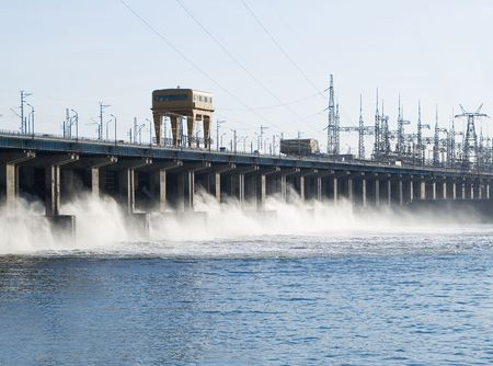 volzhskiy: Reset of water at hidroelectric power station on the river Stock Photo