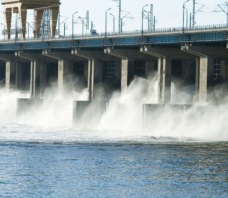 Reset of water at hidroelectric power station on the river Stock Photo - 6923446